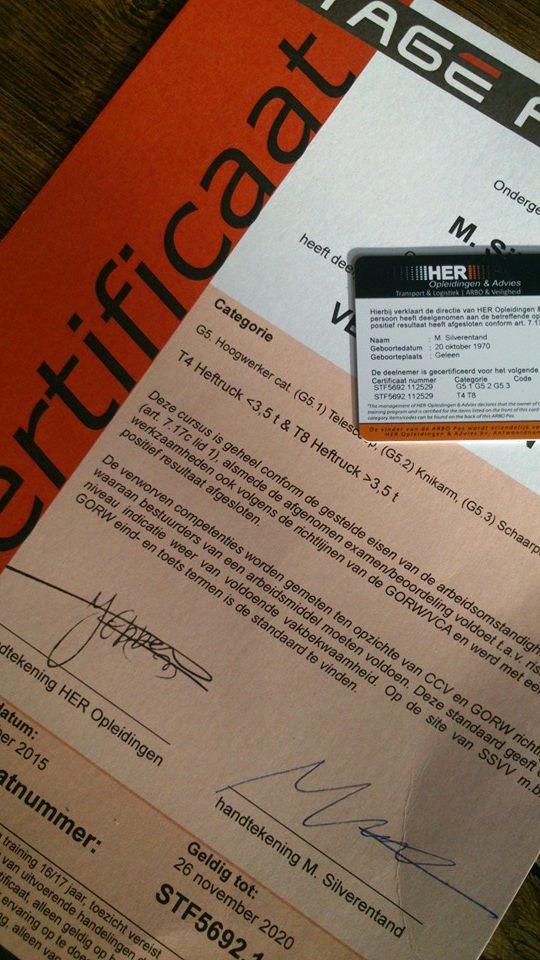 certificaat hoogwerker, heftruck